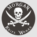 Morgan knife works round stickers