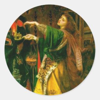 Morgan Le Fay ~ Sandys 1864 Fine Art Painting Classic Round Sticker