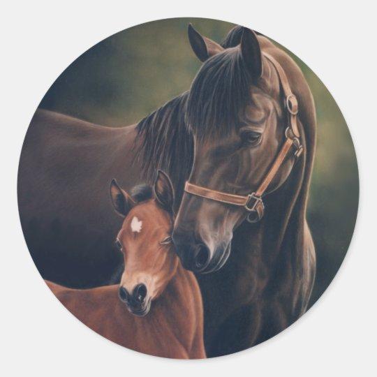 Morgan Mare and Foal Classic Round Sticker