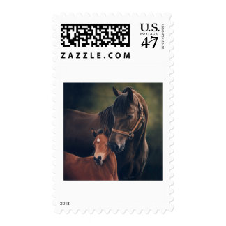 Morgan Mare and Foal Postage Stamp