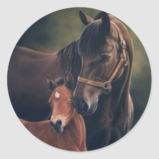 Morgan Mare and Foal Classic Round Sticker