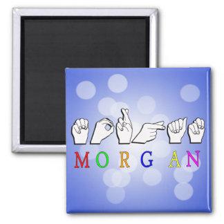 MORGAN NAME SIGN FINGERSPELLED ASL 2 INCH SQUARE MAGNET