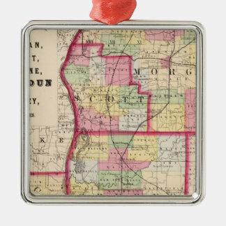 Morgan, Scott, Greene, Calhoun, condados del Adorno Navideño Cuadrado De Metal