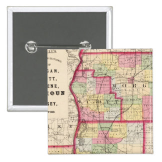 Morgan, Scott, Greene, Calhoun, condados del jerse Pin Cuadrada 5 Cm