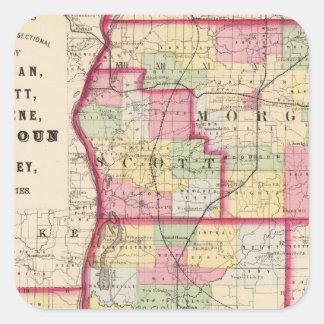 Morgan, Scott, Greene, Calhoun, condados del Pegatina Cuadrada