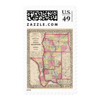 Morgan, Scott, Greene, Calhoun, condados del Timbre Postal