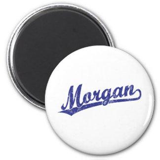 Morgan script logo in blue 2 inch round magnet