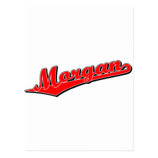 Morgan script logo in red postcard