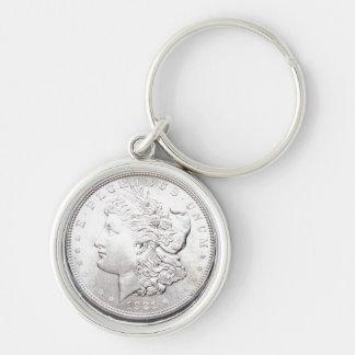 MORGAN SILVER DOLLAR Silver-Colored ROUND KEYCHAIN