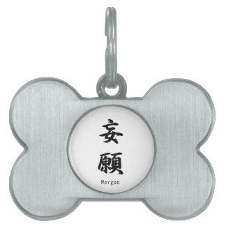 Morgan tradujo a símbolos japoneses del kanji placas de nombre de mascota