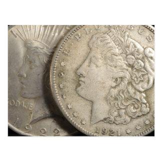 Morgan y postal de los dólares de plata de la