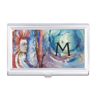 MORGANA  AND DRAGON OF LAKE Floral  monogram Business Card Case