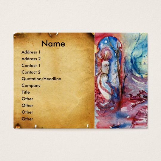 MORGANA  AND DRAGON OF LAKE  parchment Business Card