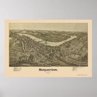 Morgantown, mapa panorámico de WV - 1897 Póster