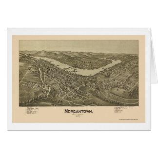 Morgantown, mapa panorámico de WV - 1897 Tarjeta De Felicitación