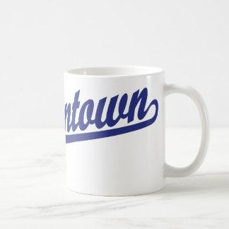 Morgantown script logo in blue classic white coffee mug