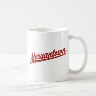Morgantown script logo in red distressed classic white coffee mug