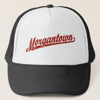 Morgantown script logo in red distressed trucker hat