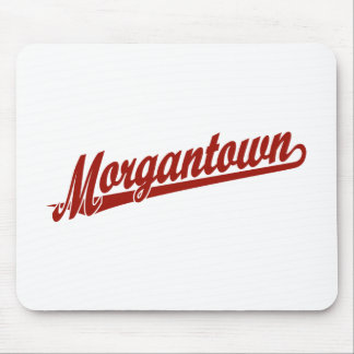 Morgantown script logo in red mouse pad