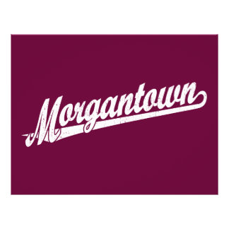 "Morgantown script logo in white distressed 8.5"" x 11"" flyer"