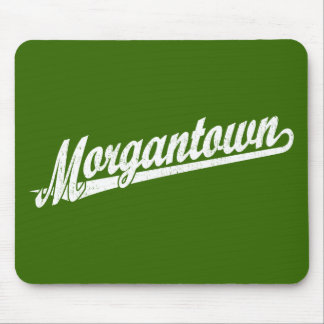 Morgantown script logo in white distressed mouse pad