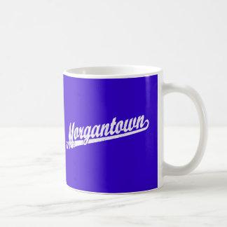 Morgantown script logo in white distressed classic white coffee mug