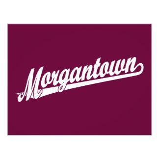 "Morgantown script logo in white 8.5"" x 11"" flyer"