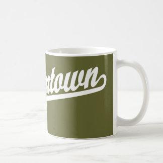 Morgantown script logo in white classic white coffee mug