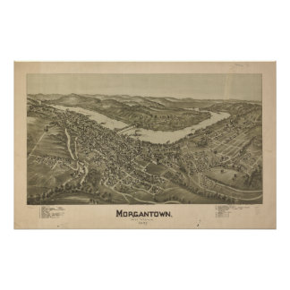 Morgantown W. Virginia 1897 Antique Panoramic Map Poster