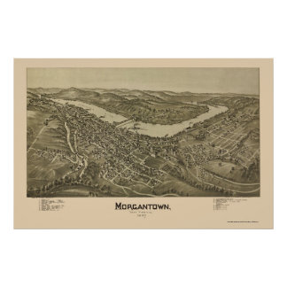 Morgantown, WV Panoramic Map - 1897 Poster