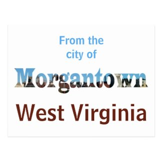 Morgantown WV Skyline Word Cutout Postcards