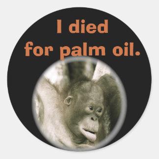 Morí por el aceite de palma en Kalimantan Pegatina Redonda