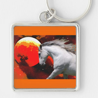 MORISCO IN FIERY SPACE Silver-Colored SQUARE KEYCHAIN