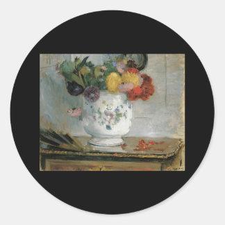 Morisot Dahlias Round Sticker