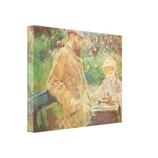 Morisot - Eugène Manet y su hija en Bougiva Impresión En Lona Estirada