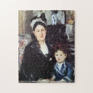 Morisot - retrato del Mme Boursier e hija Rompecabeza Con Fotos
