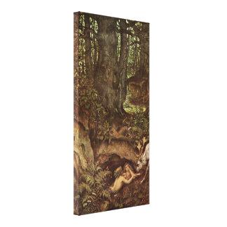 Moritz von Schwind - mermaids a deer soaking Canvas Print
