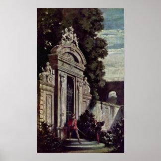 Moritz von Schwind - Nightly duel on garden gate Print