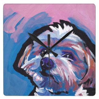 morkie designer breed pop dog art square wall clock
