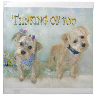Morkies Thinking of You Pups Cloth Napkin