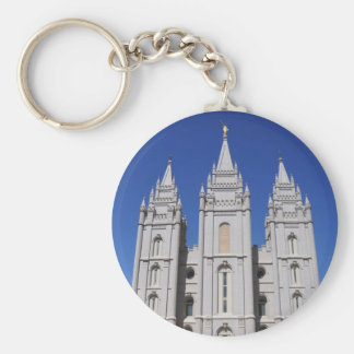 Mormon (LDS) Temple  in Salt Lake City, Utah Basic Round Button Keychain
