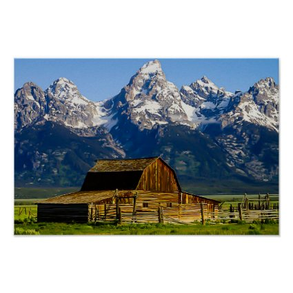 Mormon Row Barn and Mountains Posters