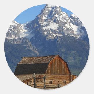 Mormon Row Barn Grand Teton National Park Classic Round Sticker