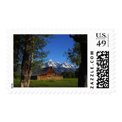 Mormon Row Barns In Grand Teton Park Postage Stamp