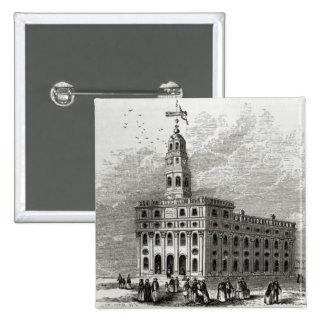 Mormon Temple at Salt Lake, 1854 2 Inch Square Button