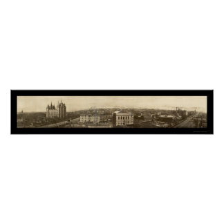 Mormon Temple Birdseye Photo 1910 Poster