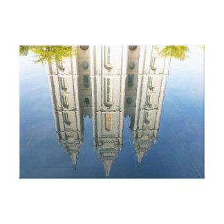 Mormon Temple Reflection Canvas Print