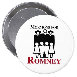 Mormones para Romney.png Pin Redondo De 4 Pulgadas