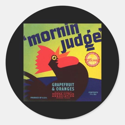 'Mornin Judge' Rooster Vintage Fruit Label Classic Round Sticker