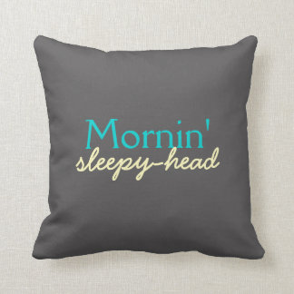 Mornin' Sleepy-Head - Teal and Yellow on Gray Throw Pillow
